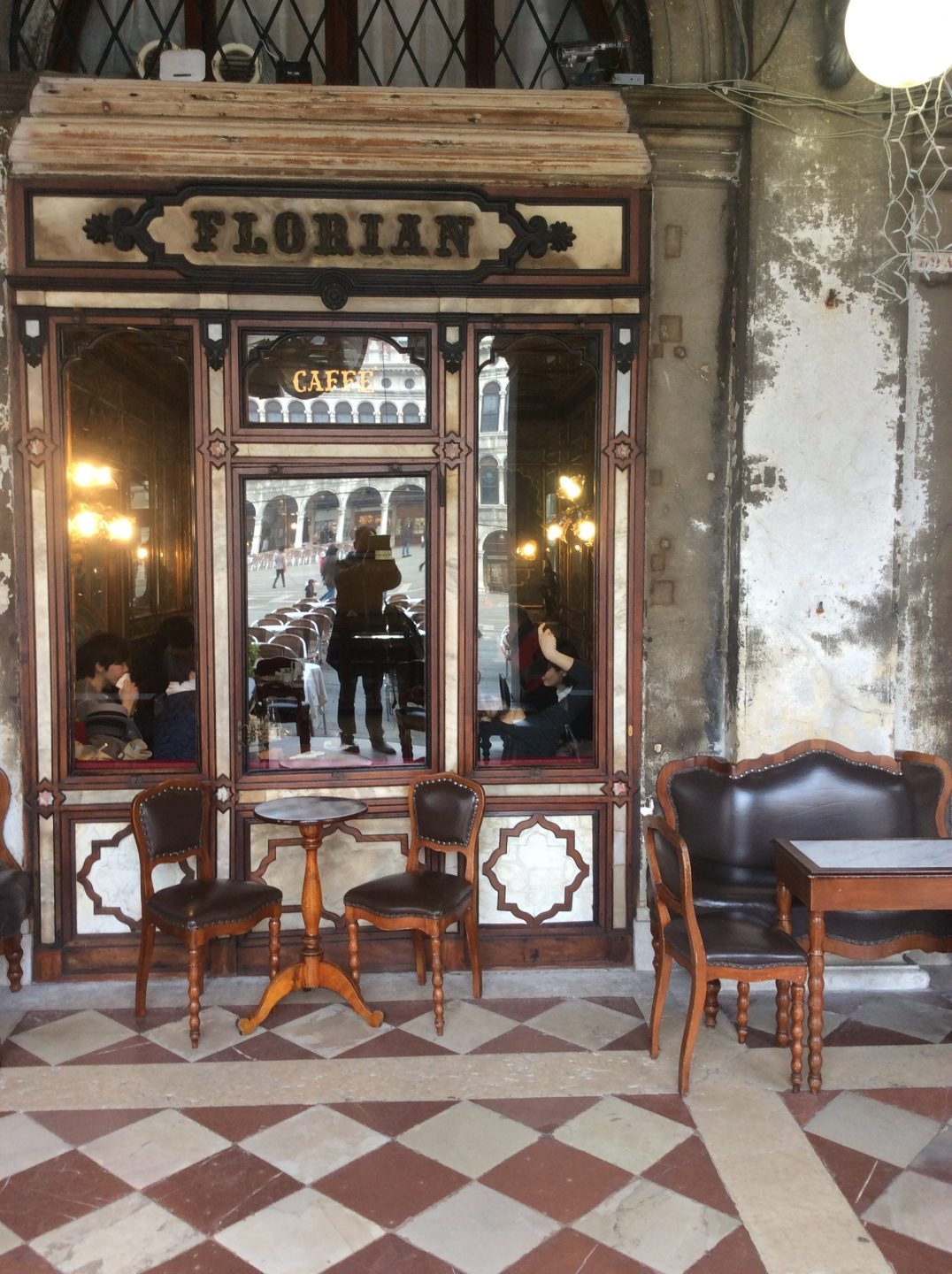 Caffe Florian seen from exterior in Piazza San Marco, Venice